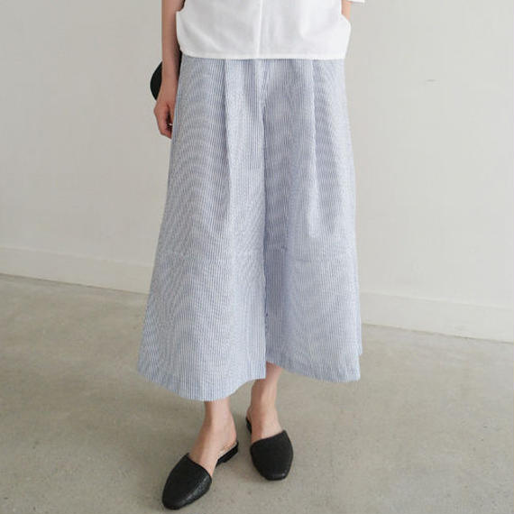 -summer stripe- tuck & flared pants (set item)
