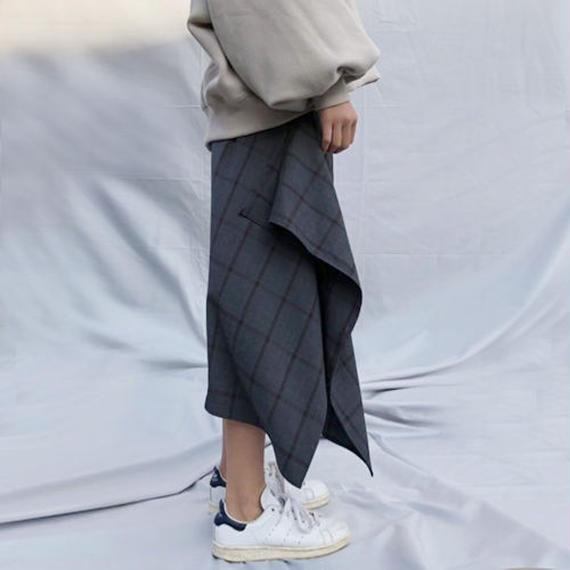 -2colors- asymmetry check midi skirt