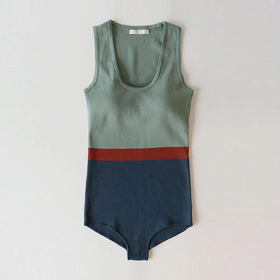 nostalgic border knit swimsuit
