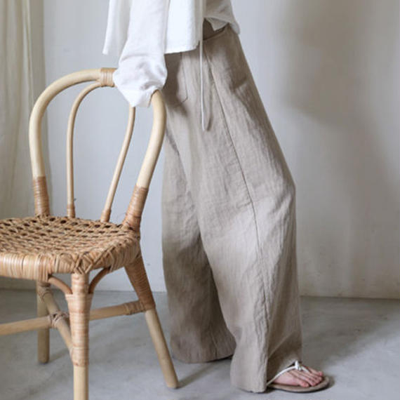 washed linen long pants