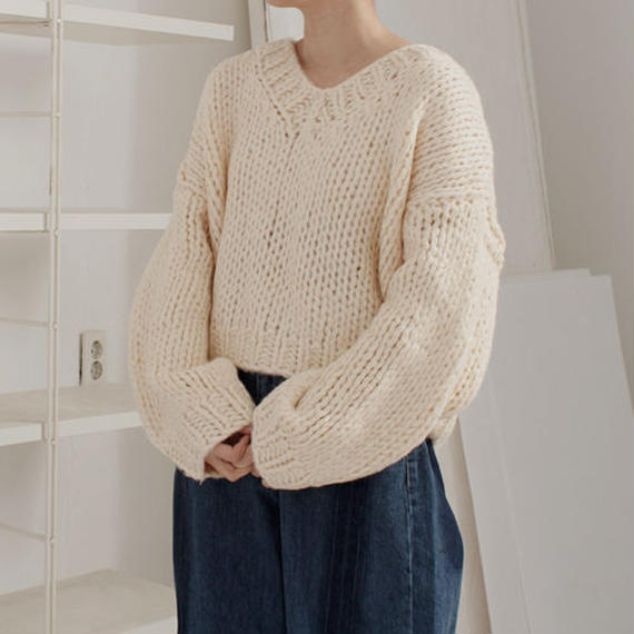 -2colors- V neck chunky knit