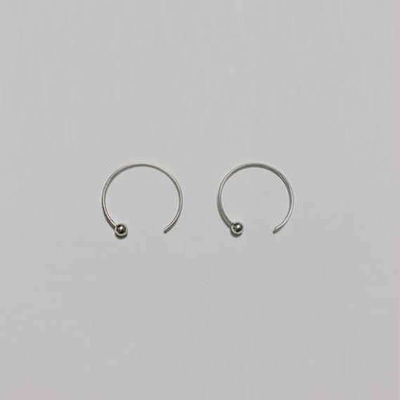 -silver 925- minimal circle hook pierced earrings
