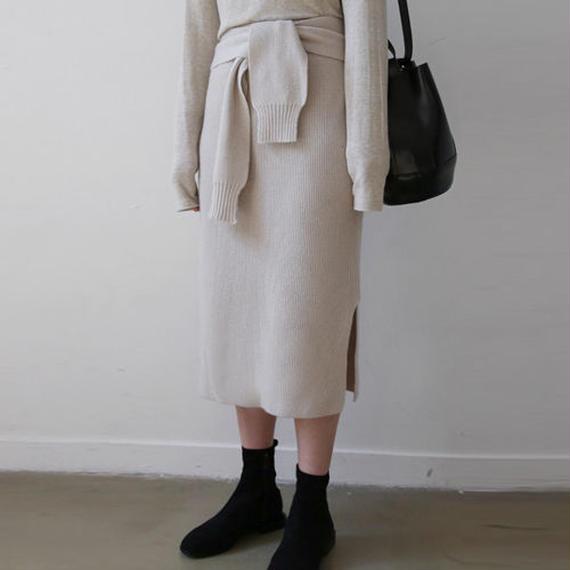 waist tie knit skirt