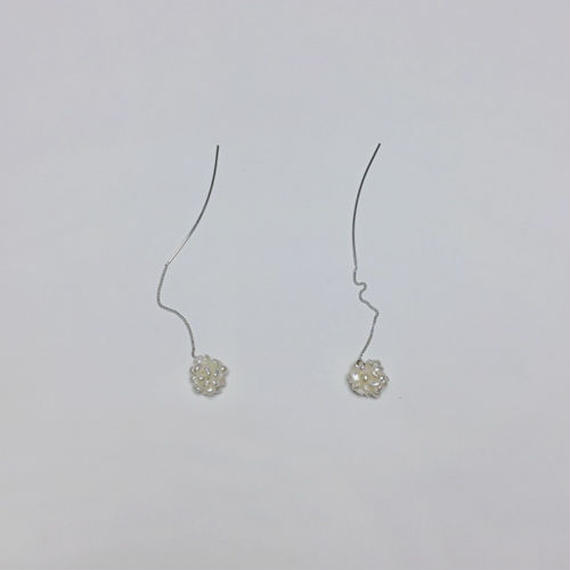 -silver 925- pearl ball pierced earrings
