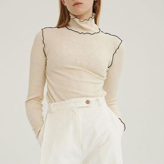 -2 colors- frill line knit & sew