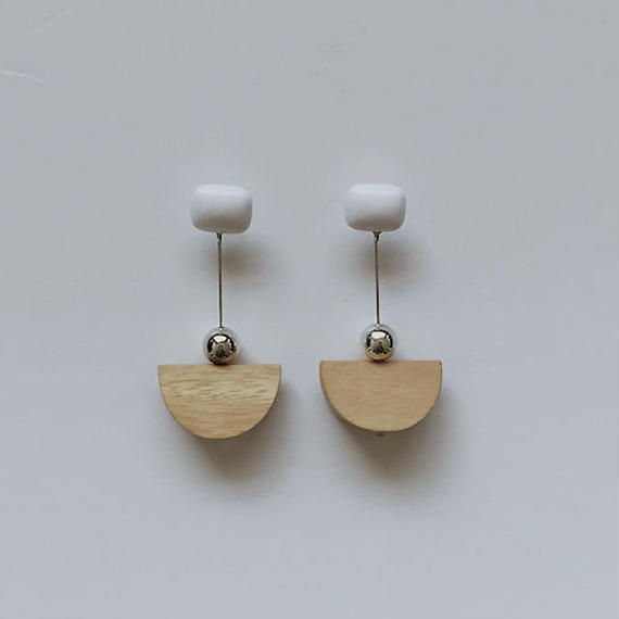 wood symbol pierced earrings