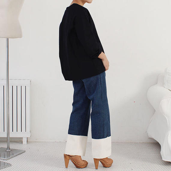 canvas roll up denim pants