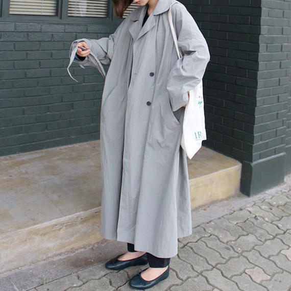 -2colors- washed oversize trenchcoat