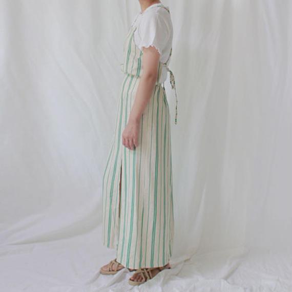 -2 colors- linen stripe apron onepiece