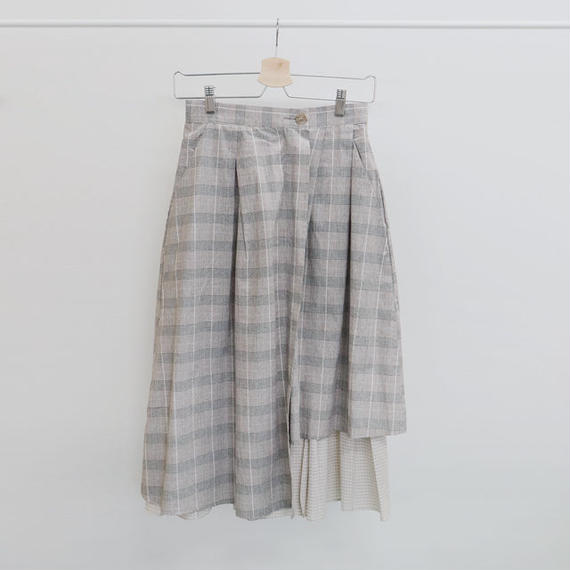 [ sample SALE ] unbalance cotton check skirt