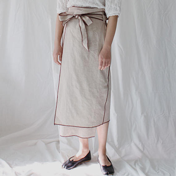 piping stitch wrap linen skirt