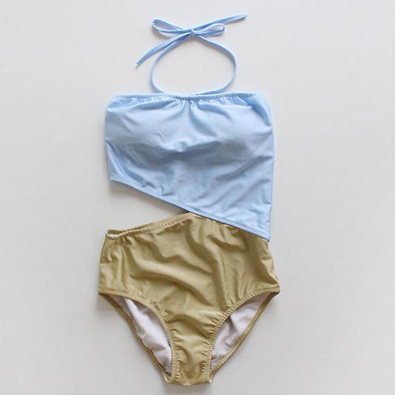2tone slashed swimsuit