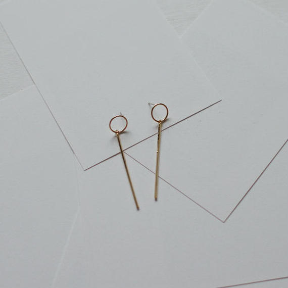 circle x stick pierced earrings