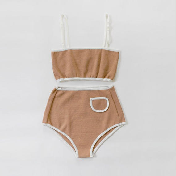 pocket pointed knit bikini