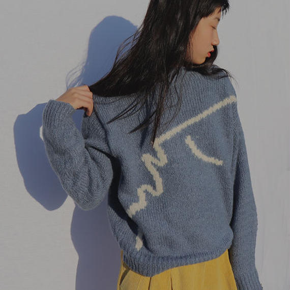 -2 colors- hand drawing knit