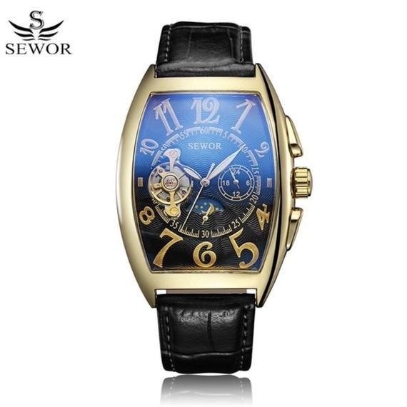 ラグジュアリー 自動機械式 メンズ腕時計 腕時計 ゴールド×ブラック トノー型 ビジネス