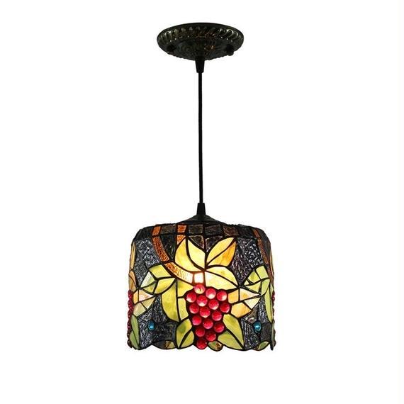 Stylechic ペンダントライト ティファニーライト ステンドグラスランプ 芸術的 伝統的 店舗 玄関 照明器具 天井照明 ブドウ柄 D20cm