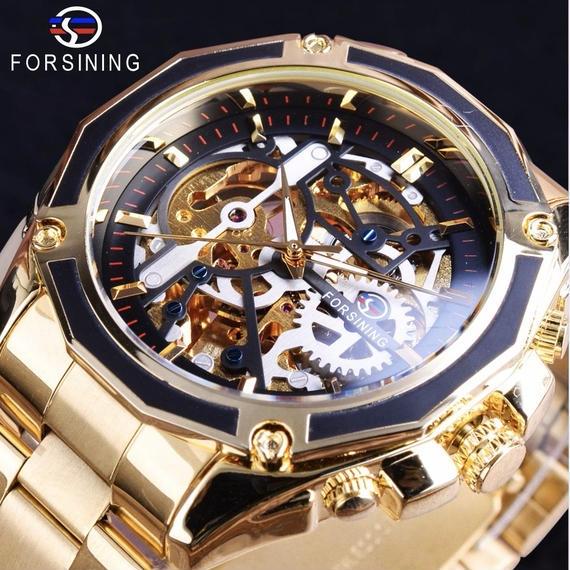 海外ブランド メンズ 自動巻 腕時計 スケルトン 生活防水機能付 機械式 裏蓋 ブラック ゴールド