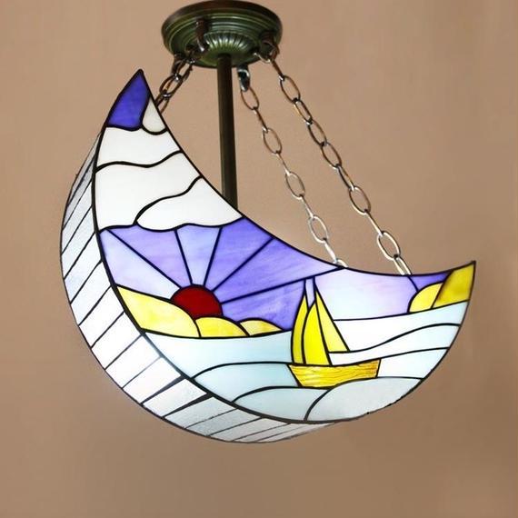 ティファニーライト ペンダントライト ステンドグラス 照明器具  月型 2灯 StyleChic