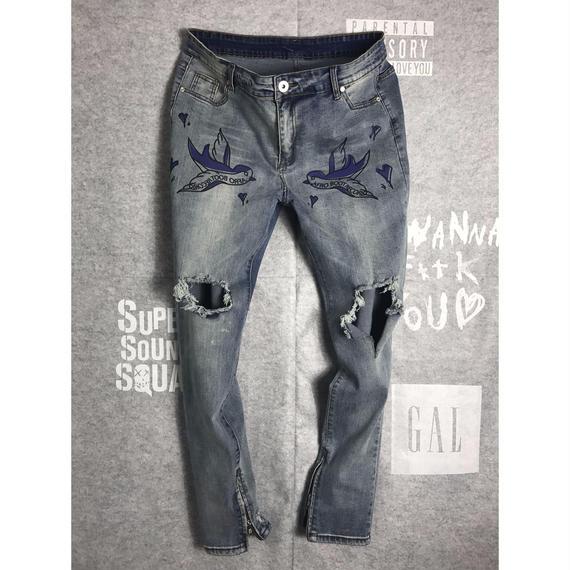 Zip Hem Skinny Jeans - SPALLOW/プリントジーンズ ジップ付きスキニー