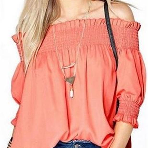 Off-shoulder blouse .  Pink