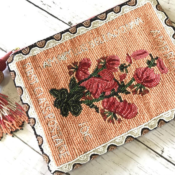 BEADED POSTAGE CLUTCH