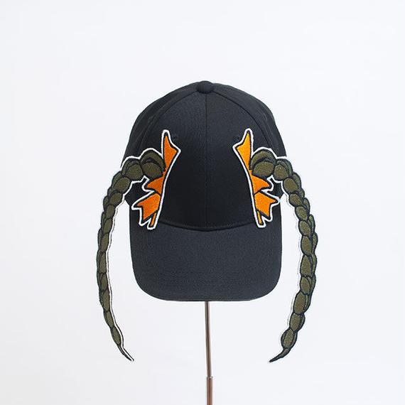 髪型帽(カーキ触角おさげ)