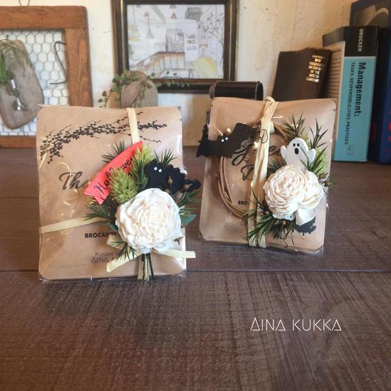 HALLOWEEN[Flower & Coffee SET]]メッセージドリップバック5個+ミニコサージュorミニリース