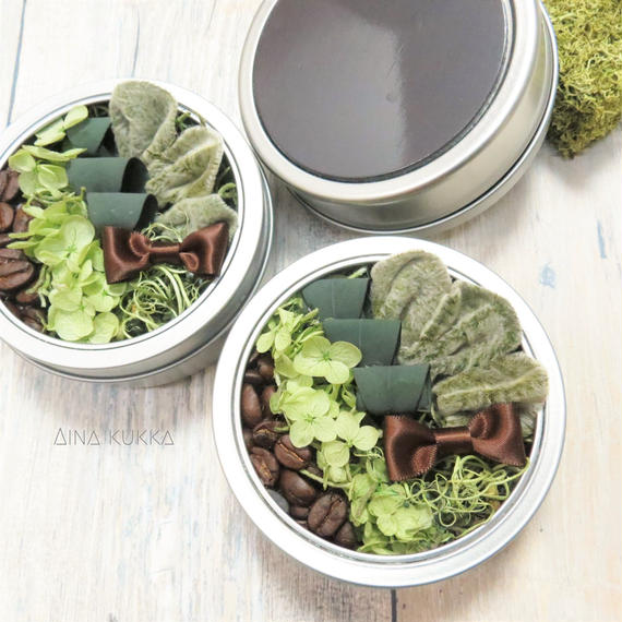 [珈琲豆のBoxアレンジ]プリザーブドフラワー×珈琲豆/マグネットケース