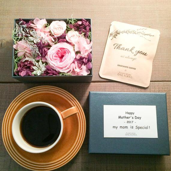 [Flower & Coffee SET]Flower Box M(PINK)+メッセージドリップバック2種5個セ