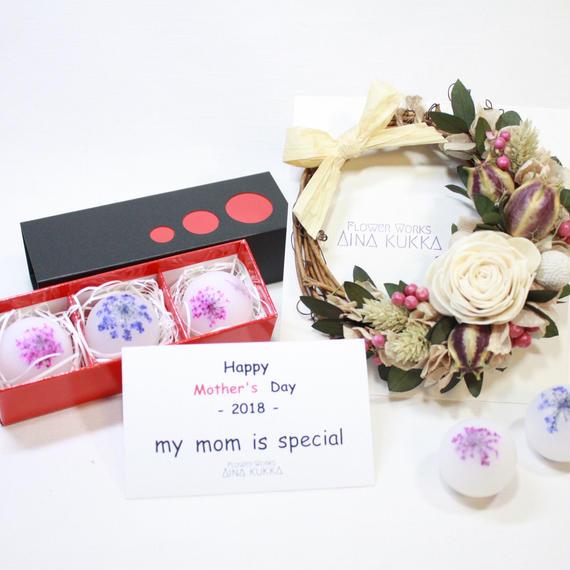 母の日[Flower Aroma SET]フレグランスリース×アロマワックスボール3個