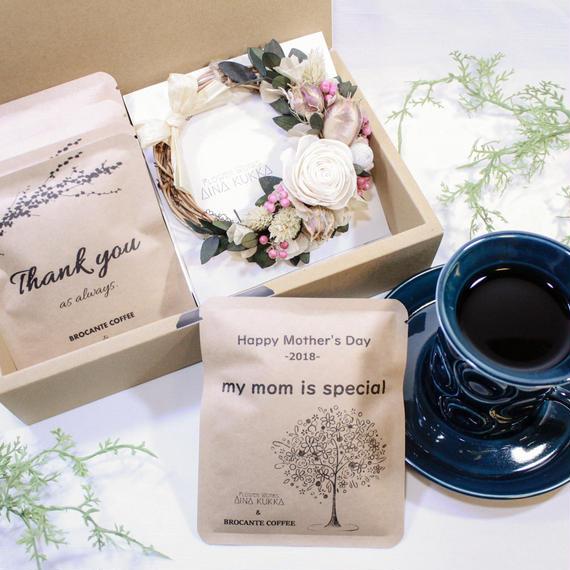 母の日[Flower & Coffee SET]ミニリース+メッセージドリップバック2種5個