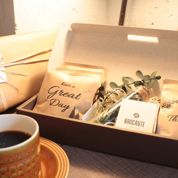 [Bottle Flower&Coffee SET]BOX入り/メッセージドリップバック8個(2種)・ボトルフラワーMサイズ1点(カラー4種)