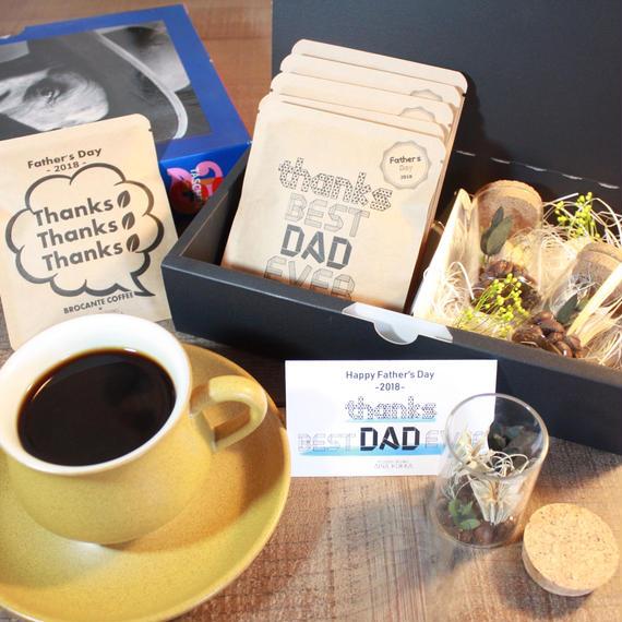 父の日[Coffee & Flower SET]珈琲豆のボトルフラワーS2個+メッセージドリップバック2種5個