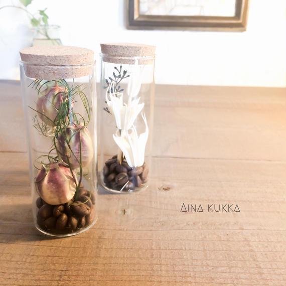 [珈琲豆のボトルフラワー2個セット]Msize/ドライフラワー×プリザーブドフラワー