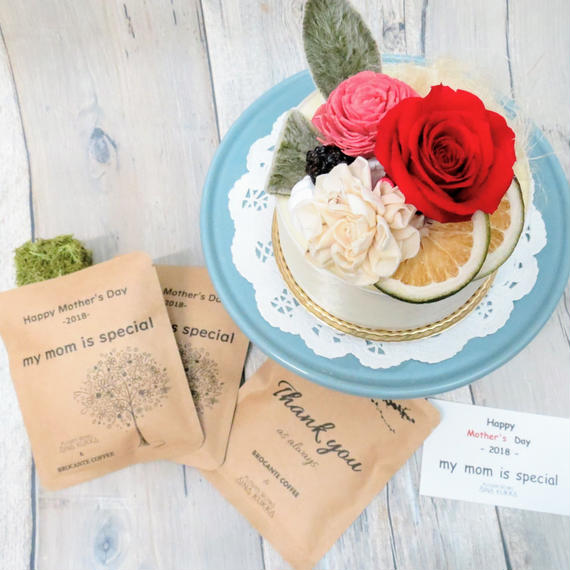 母の日[Flower & Coffee SET]Flower Cake+メッセージドリップバック2種3個