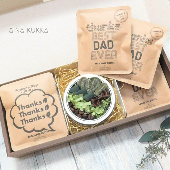 父の日[Coffee & Flower SET]珈琲豆のBoxアレンジ+メッセージドリップバック2種8個