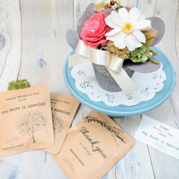母の日[Flower & Coffee SET]プリザーブドアレンジ+メッセージドリップバック2種3個