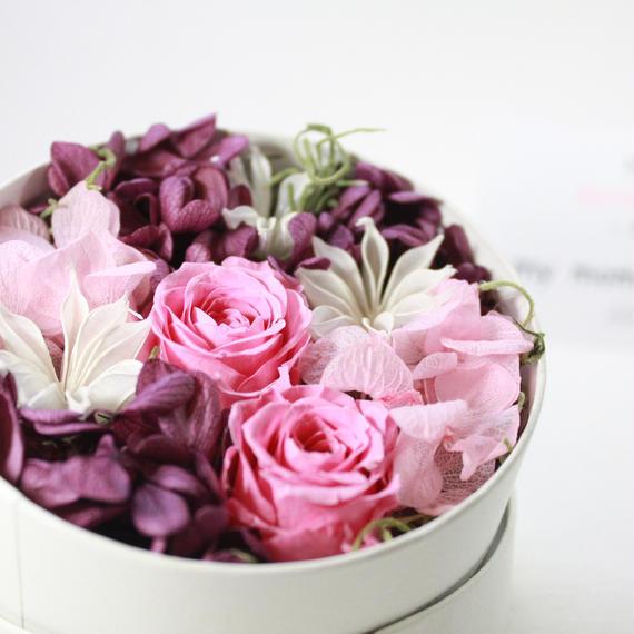 [Flower Box Ssize]PINK/プリザーブドフラワー