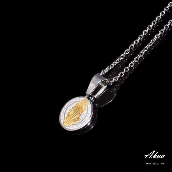 Maria coin necklace silver & gold stainless steel №23