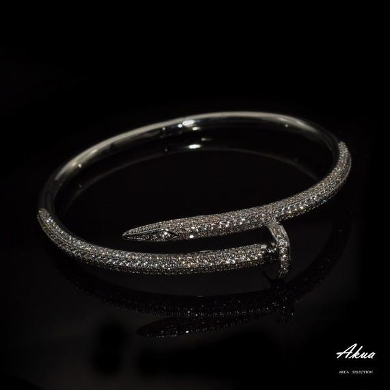 CZ diamond nail bangle silver stainless steel №18
