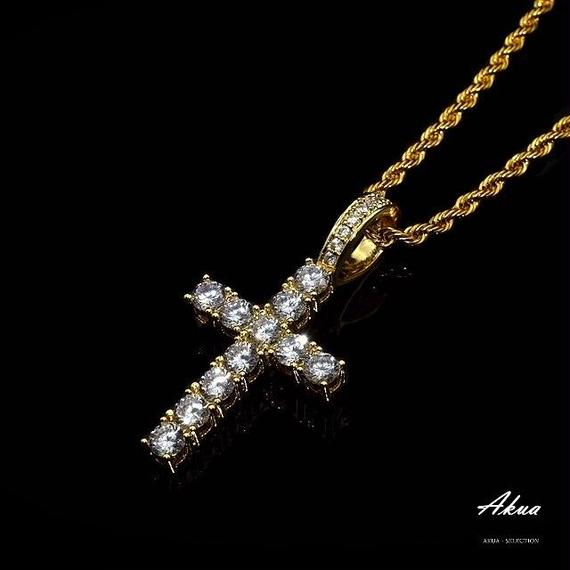 CZ diamond Cross necklace gold stainless steel №19