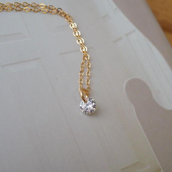 14kgf ジルコニアネックレス【輝く・ダイヤモンド・定番】[NT008]