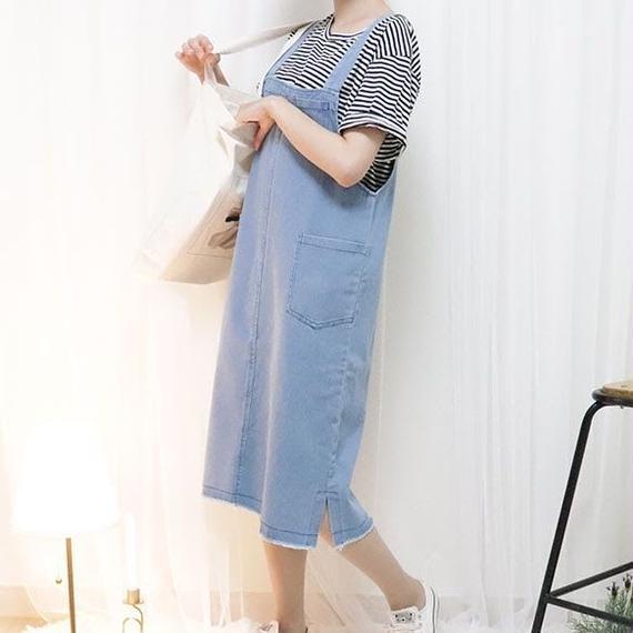denim salopette skirt(light/dark)