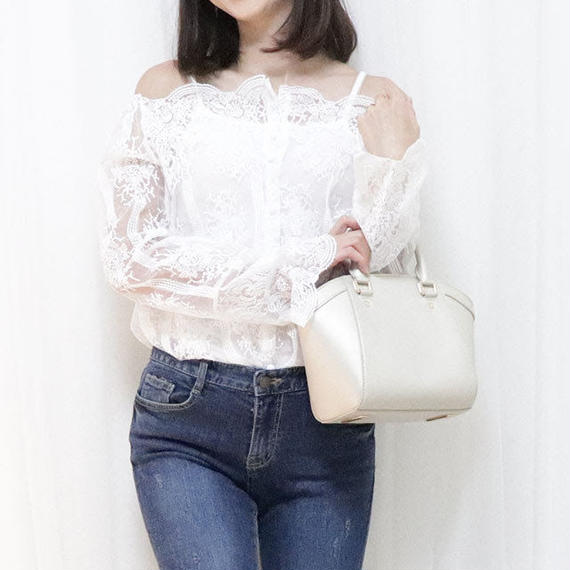 classic party blouse(white/beige/black)