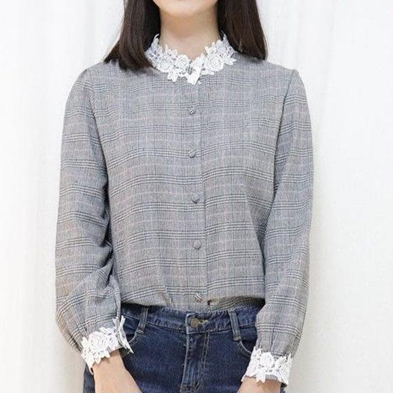 glen check blouse