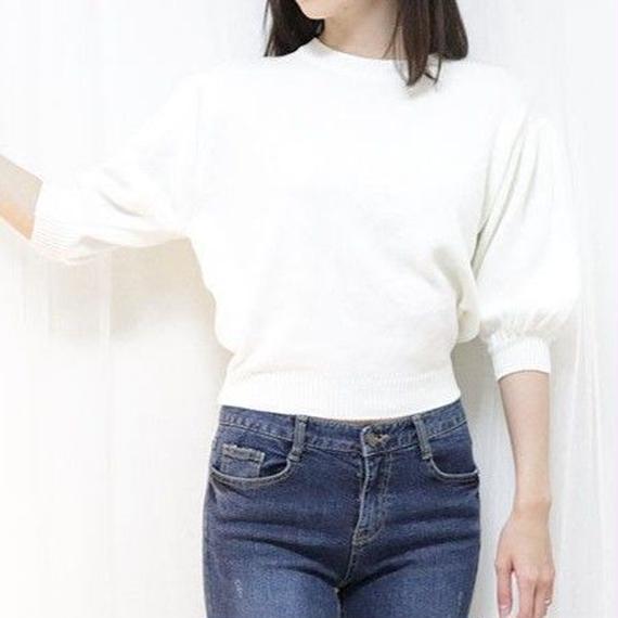 half sleeve puff knit(white/pink/blue)