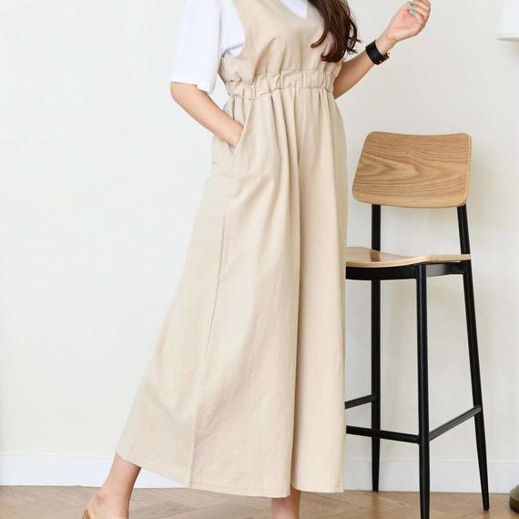 linen wide jumpsuit(beige/mustard/black)