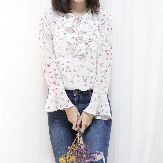 flower frill blouse(ivory/pink/navy)