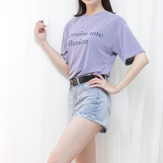 illusion soft tee(beige/violet/black)